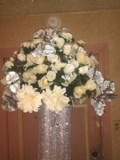 Close-up of the Head table Centerpiece showing Bling :-)