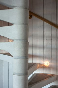 Concrete spiral staircase in a luxury lodge. #spiralstaircase #concrete #spiralstairs #interiordesign