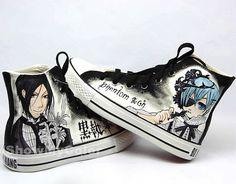 Black Butler anime Custom Converse Shoes, Kuroshitsuji Shoes,   Sebastian Michaelis and Ciel Phantomhive hand painted shoes, best shoes.