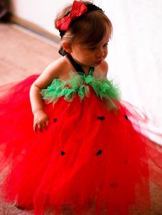 Custom Made Strawberry Tulle Dress {maybe halloween?}