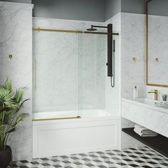 Tub Shower Doors, Bathtub Doors, Frameless Sliding Shower Doors, Bathtub Shower, Bathtub With Glass Door, Shower Panels, Gold Shower, Black Shower, Contemporary Bathtubs