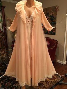 8ccb3a70fa Vintage Lucie Ann Peach Chiffon Nightgown Robe Peignoir Set Small Medium  Large  LucieAnn. Sarah Rosen