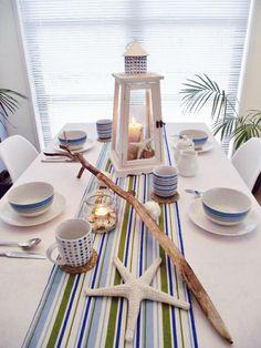 déco de table marine - chemin de table à rayures en bleu,blanc et vert,étoile de mer et lanterne blanche