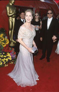 Meryl Streep, 1999 In a portrait-neckline gown giving off modern-day Giambattista Valli vibes.