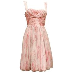 Preowned 1960s, Carven Haute Couture Bustier Cocktail Dress Made Of... ($3,002) ❤ liked on Polyvore featuring dresses, beige, cocktail dresses, pink bustier, floral print dress, bustier dresses, floral bustier and pink floral dress