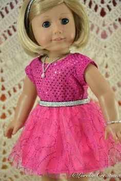 American Girl or 18 Inch Doll Cinderella Princess Special Occasion Pink 2 Piece DRESS, SHOES, JEWELRY and Headband