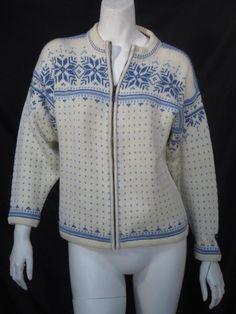 Dale of Norway Full Zip Fair Isle Creme Blue Cardigan Sweater * #DaleOfNorway #Cardigan