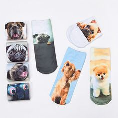 2016 New Fashion Cute  Women Men Unisex 3D Cartoon Funny Dog Animal Printed  Low Cut Ankle Short  Breathable Cotton Socks Hot