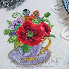 Machine Embroidery Design - Tea cup floral composition