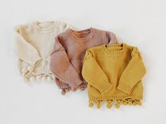 The Poppy Sweater Knit material, super soft! Wash on gentle and lay flat for best care! Baby Sweaters, Girls Sweaters, Baby Girl Fashion, Kids Fashion, Baby Pullover, Baby Winter, Winter Baby Clothes, Modern Baby Clothes, Kind Mode