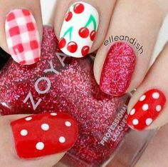 Red fun summer nails, red polka dot nails, red glitter, glitter nails, cherrie print nails, retro, cherries, gingham, gingham nails, red gingham, nail design