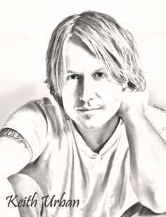 Digital Drawing of Keith Urban Country Music Artists, Country Singers, Urban Pictures, Art Pictures, Photos, Thunder From Down Under, Cartoon Faces, Music People, Keith Urban