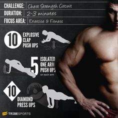 CHEST STRENGTH CIRCUIT: Check out this circuit routine to strengthen your chest, it is best that only takes 2 to 3 minutes do it, it's easy, simple and fast, but powerful, so if you have little time or can not go to the gym, this routine is for you, since you can do in your home, office, or outdoor  Blessings.  MrFitBoy007 :)