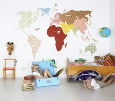 Wallsticker map. Wooden 60th furniture. Travel theme with map, globelamp and suitcases