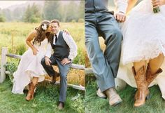 Rachel Phillips shows off her the Ariat Western R Toe on her wedding day