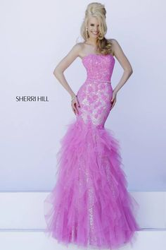"""pretty in pink. sherri's blurb: """"The sequin sparkles on this fitted mermaid cut gown shimmer underneath a lace covered, strapless bodice and whimsical tulle tiered skirt."""" #pink #pinkpromdress #longpromdress #promdress #prom #sherrihill #wedding #mermaid style #11263"""