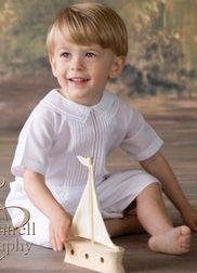 Feltman Brothers Boy's White Button Shortall Romper.