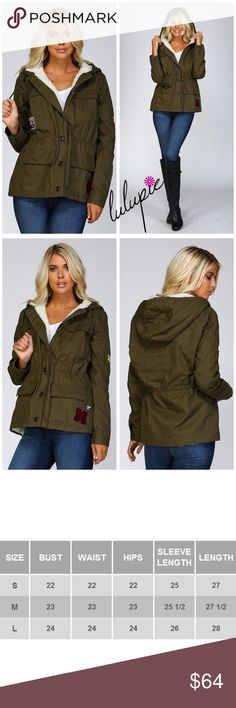 ❗LOWEST❗S-M Olive Fur Lined Military Jacket Faux Shearling Fur lined hoodie jacket Military style Embroidery patch embellishment 4 front flap pockets with snap button closure 6 buttons for front closure Draw cord tie at waist with tunnel Long sleeve cuffs with button closure 100% cotton Fur lining is 100% polyester Model is 5` 10″ 34B-24-34 and wearing a size Small Olive utility bomber jacket Bchic Jackets & Coats