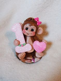 monkey birthday cake topper Christmas ornament  polymer by clayqts, $24.95