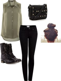 """""""army green outfit"""" by byluna on Polyvore"""