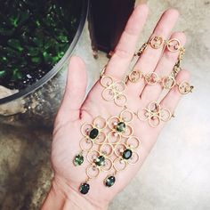 Tourmaline and Diamond Cluster Necklace and the Galaxy Diamond Bracelet