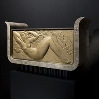 A pair of rectangular marble art deco jardinières with inclining edges decorated with two gilt plaster low reliefs showing zodiac signs' .  Circa 1934 – 1938 by Jean Dulac (Bourgoin 1902 – Lyon 1968), trainee of the famous sculptor Paul Maximilien Landowski (1875 - 1961).