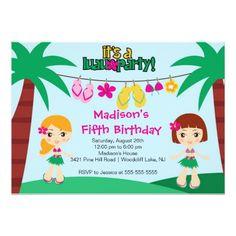 Luau Birthday Party Invitations Cute Tropical Luau Party Birthday Invitation