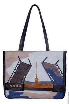 Купить Кожаная сумка ПИТЕРСКИЙ МОСТ - разноцветный, рисунок, мост, Питер, Кожаная сумка, Аппликация