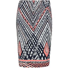Anna Scholz Blue / Versicolour Plus Size Printed pencil skirt ($265) ❤ liked on Polyvore featuring skirts, blue, plus size, blue skirt, patterned pencil skirt, pattern skirt, print skirt and blue knee length skirt