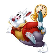 White Rabbit Background information Character information The White Rabbit is a character from Disney's 1951 film Alice in Wonderland. He is also the very reason Alice gets stuck in Wonderland in the first place. He was voiced by Bill Thompson.