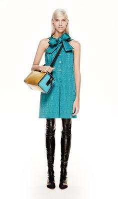 #MMissoni | TURQUOISE DRESS WITH BOW | Fall 2014 Collection