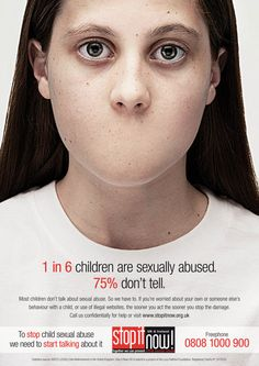 It must be taken into account that the statistic of 1 in 6 children being sexually abused only accounts for reported sexual abuse. In reality the real numbers are much higher. Many children don't tell that they are being sexually abused because they feel ashamed, are threatened, or simply because they feel no one will listen.