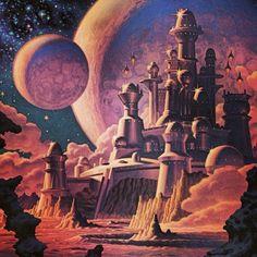 "Album cover artwork for ""Citadel"" by Starcastle Space Fantasy, Fantasy Artwork, Art Haus, Arte Sci Fi, 70s Sci Fi Art, Fantasy Castle, Alien Art, Futuristic Art, Science Fiction Art"