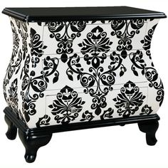 Hand Painted Distressed Black and White Finish Bombay Accent Chest