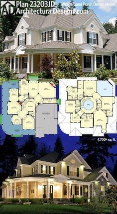 Architectural Designs House Plan 23203JD has a wraparound porch that looks great day and night. 4 beds, 4.5 baths and over 4,700 square feet of living. Ready when you are. Where do YOU want to build?