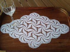 Hand Crocheted White Vintage Doily - Table Runner in a shape of Diamond