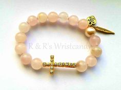 Pale Pink Beaded Bracelet Single Bracelet Your by RandRsWristCandy, $8.00