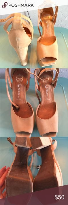 SOLD ✅✅🙆🏽 Jeffery Campbell Tan , suede. Amazing condition. Says 8.5 but these run half a size bigger. I'm a true 9 & these fit perfectly Jeffrey Campbell Shoes Heels