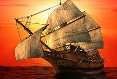 夕暮れ 航海 帆船の壁紙 | 壁紙キングダム PC・デスクトップ版