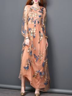 NO: 743011 Balloon Sleeve Embroidered A-Line Casual Crew Neck Maxi Dress Spring Dress Skirt, Lace Dress, Dress Up, Sequin Dress, Fashion Vestidos, Fashion Dresses, Women's Fashion, Evening Dresses, Prom Dresses