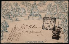 """GB 1840 SGME4 Cover 1840 2d Mulready Envelope (Forme 1, Stereo a208). Very fine late usage example sent within London cancelled by a London W.C. squared circle for MR.11.1886. Initially deemed invalid for postage by the postal clerk and stamped with a hand struck """"2"""" this then cancelled with an inspectors erasure mark, the cover additionally endorsed at lower left """"Charged in error. The stamp Envelope being genuine. F.H. Postmaster W.C. District"""". A lovely late usage mulready. Ex. Shaida."""