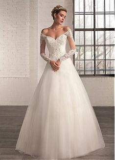 Buy discount Elegant Tulle Off-the-Shoulder Neckline A-line Wedding Dresses with Beaded Lace Appliques at Dressilyme.com