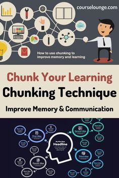 Use the chunking technique to improve memory, communication & reading. This tutorial discusses the core concepts, usage cases and strategies on how to apply the chunking technique for learning and memorizing things. #chunking #chunkingtechnique #improvememory #education #learning How To Read More, How To Read Faster, Learn Faster, Study Techniques, Learning Techniques, Educational Websites, Educational Technology, Speed Reading, Improve Productivity