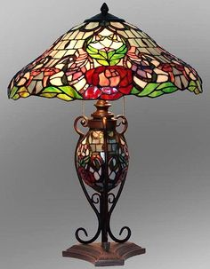 Victorian Floral Tiffany Stained Glass Table Lamp