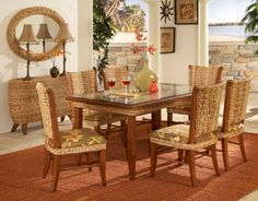 Paradise Dining Room Sets : Paradise Caster Chair Dining Set : Tickle Imports : American Wicker