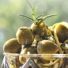 Rosemary-Lemon Spanish Olives with Manchego Cheese