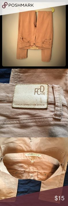 Tan skinny leg pants Tan denim pants. Thick material, gently worn, no blemishes French Connection Pants Skinny