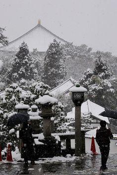 Snow in Nigatsu-do, Todai-ji temple in Nara, Japan