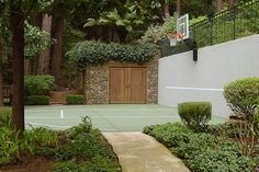 basketball court softened by beautiful materials and plants