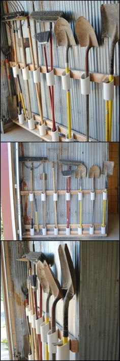 How to Build a Yard Tool Organizer from PVC  Hate looking at the chaotic jumble of your garden/yard tools? Then you probably need this storage solution!